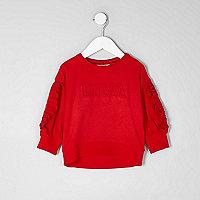 Mini girls red 'diva' embossed sweatshirt
