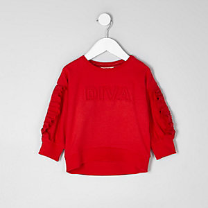 Mini girls red 'diva' embossed sweatshirt