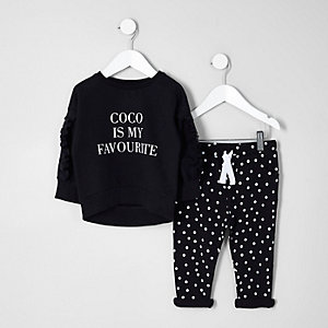 Mini girls black 'coco' sweatshirt outfit