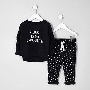 Mini - Outfit met zwart sweatshirt met 'Coco'-print voor meisjes
