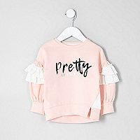 Mini - Roze sweatshirt met 'pretty awesome'-print voor meisjes