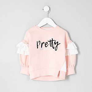 Mini girls pink 'pretty awesome' sweatshirt