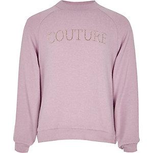 Paarse hoogsluitende top met 'Couture'-print voor meisjes
