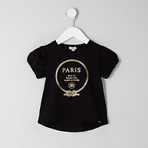 Mini girls black 'Paris' foil print T-shirt