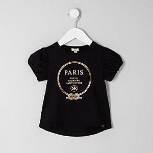 Mini - Zwart T-shirt met 'Paris'-folieprint voor meisjes