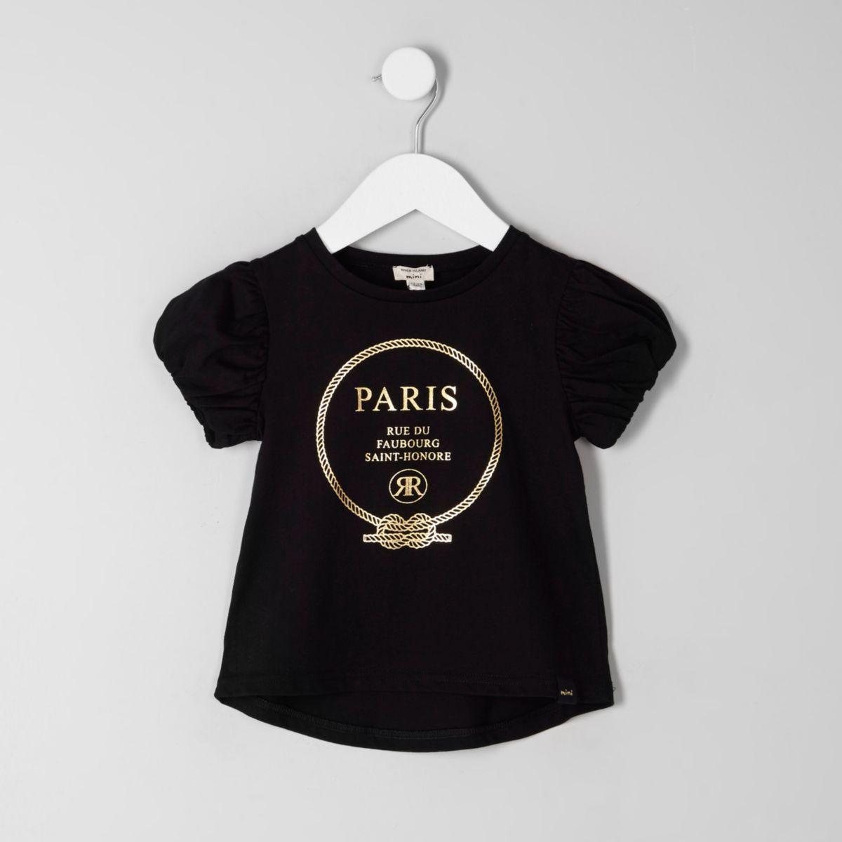 Mini girls black 'Paris' foil print T-shirt