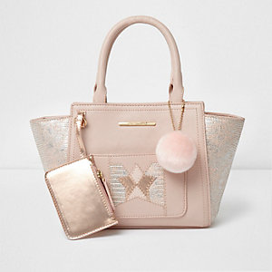 Girls pink foil embossed winged tote bag
