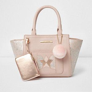 Roze handtas met reliëf en zij-inzetten voor meisjes