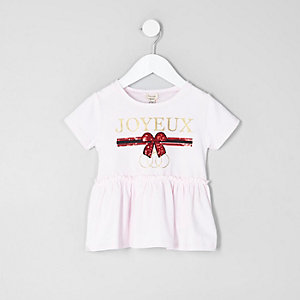 Mini girls pink 'joyeux' peplum T-shirt