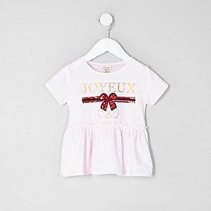 Mini - Roze T-shirt met peplum en 'Joyuex'-print