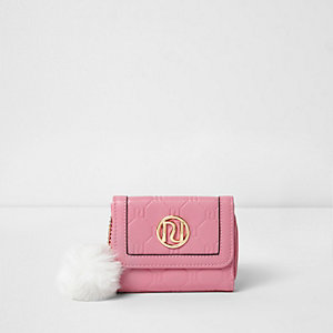 Girls pink RI embossed small trifold purse