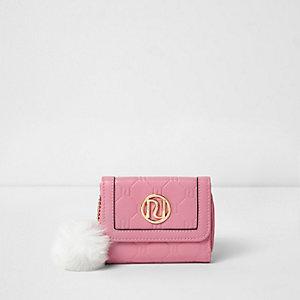 Roze kleine portemonee met RI-reliëf voor meisjes