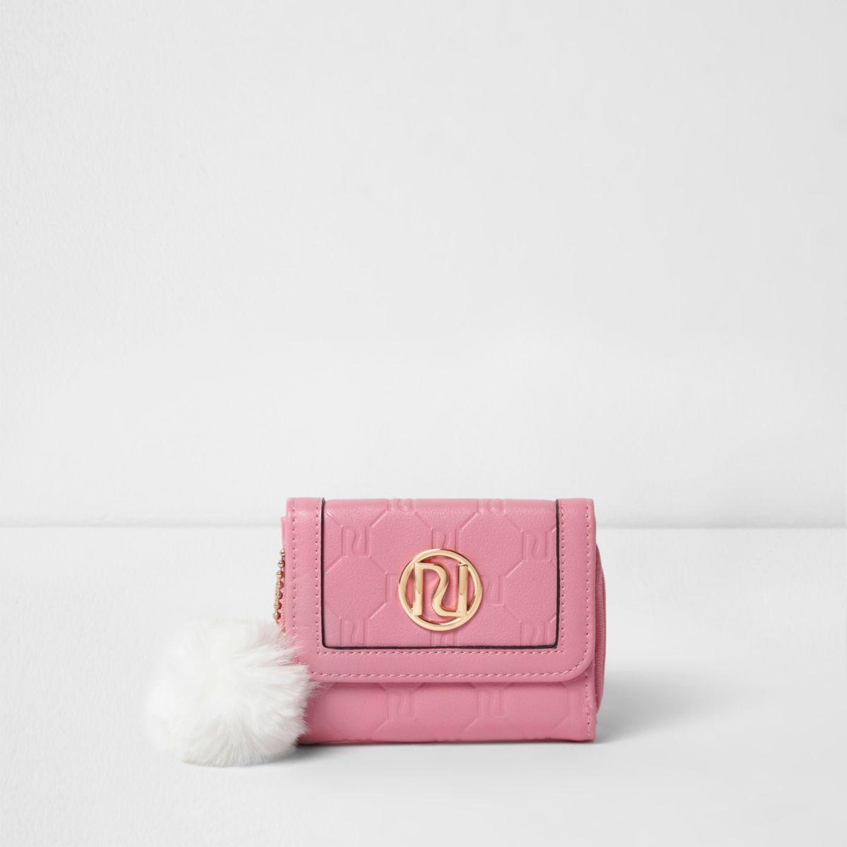 Porte-monnaie rose à deux petits rabats et logo RI en relief pour fille