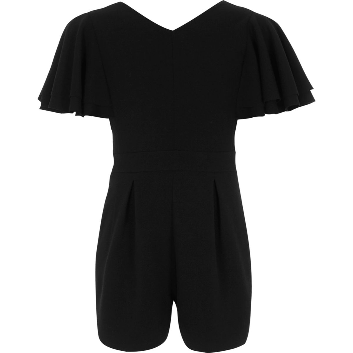 Girls black frill sleeve V neck playsuit