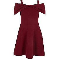 Girls red bow front bardot skater dress