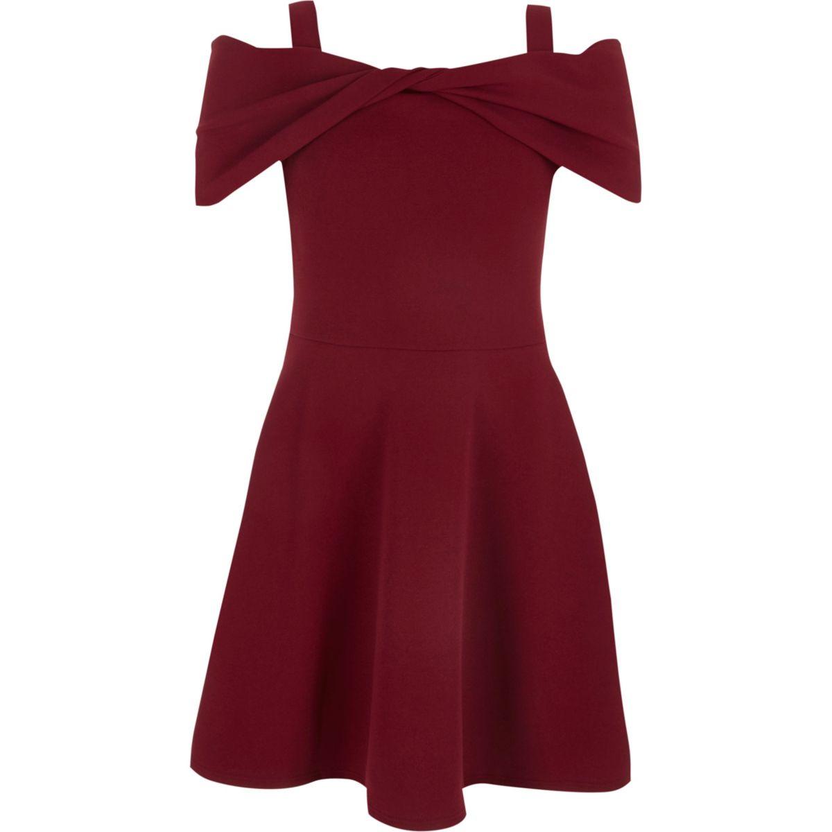Girls red bow front bardot skater dress