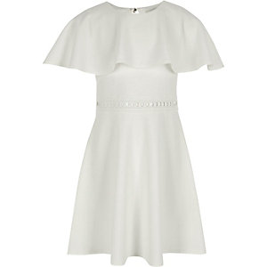 Girls white cape sleeve dress