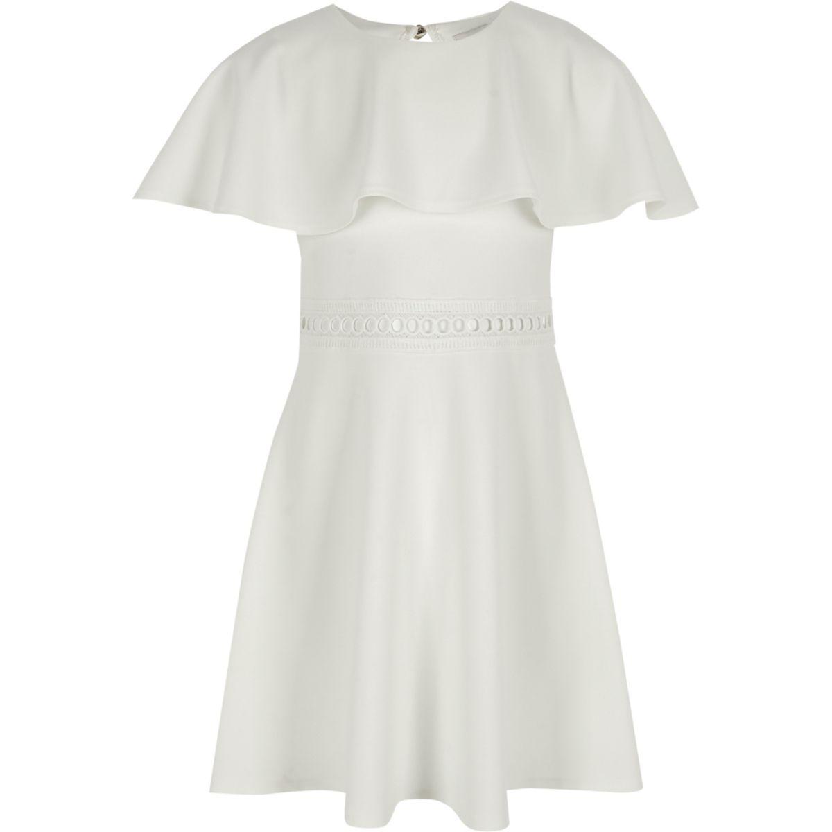 Girls white cape sleeve dress