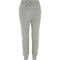 Girls grey knitted joggers
