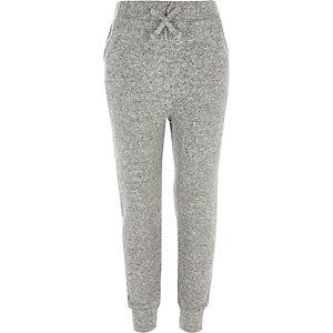 Pantalon de jogging en maille gris pour fille