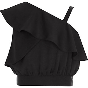 Girls black one shoulder frill crop top
