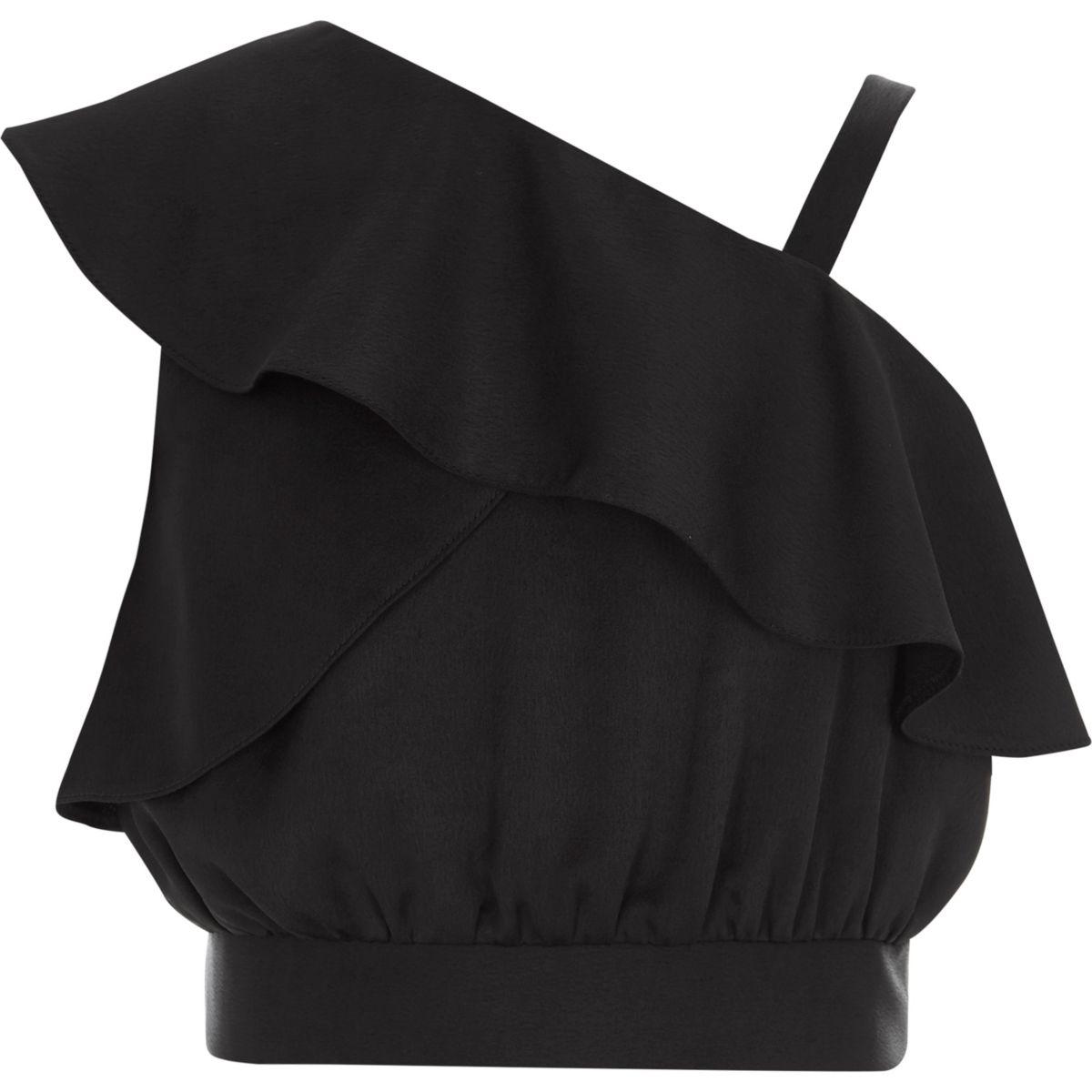 Girls black one shoulder frill crop top