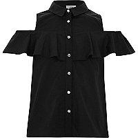 Girls black frill cold shoulder shirt