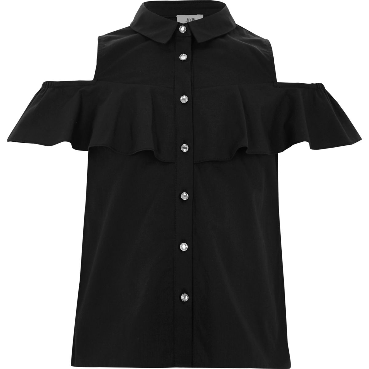 Girls black frill cold shoulder shirt
