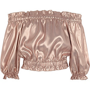 Girls pink metallic frill bardot crop top