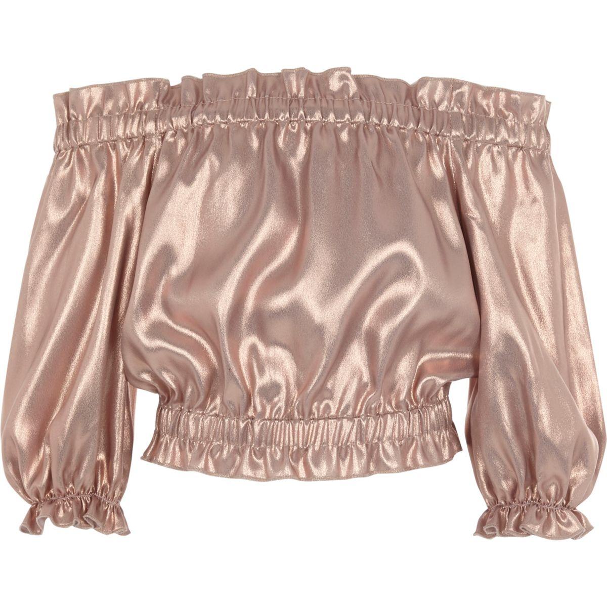 Girls pink metallic frill bardot crop top