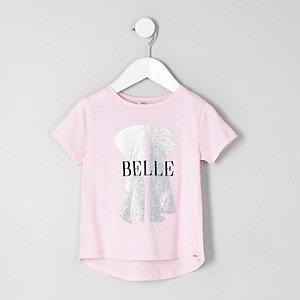Mini girls pink 'belle' foil print T-shirt