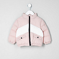 Mini girls light pink block puffer jacket