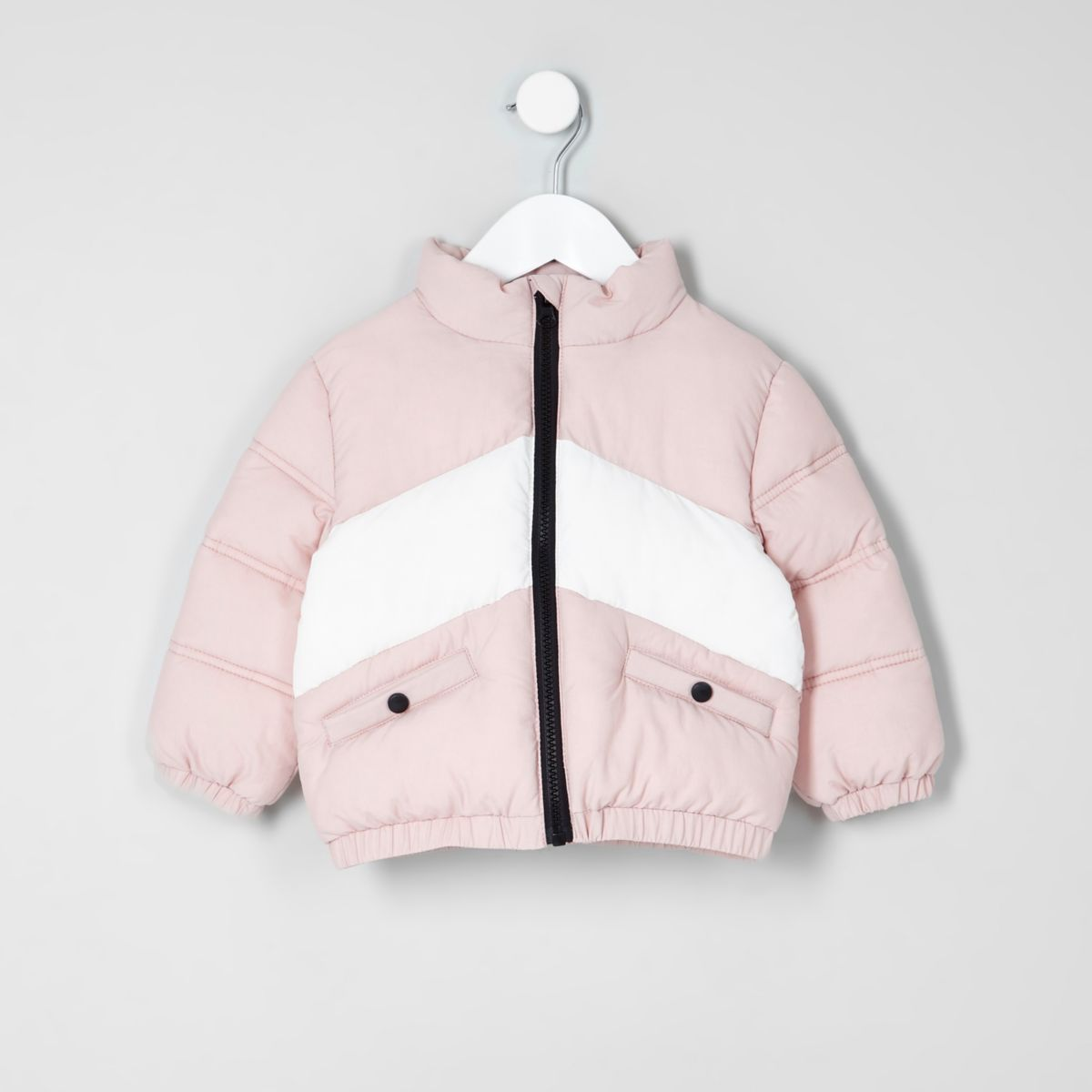 Mini girls light pink block puffer jacket