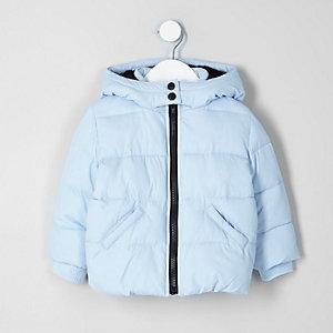 Mini girls light blue hooded puffer jacket