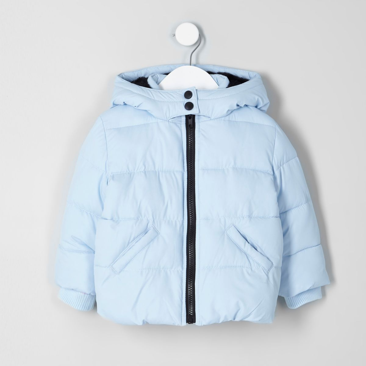 Mini girls light blue hooded puffer jacket