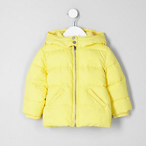 Mini girls yellow 'girls rule' puffer jacket