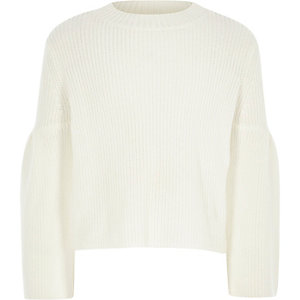 Girls cream bow cut out back jumper