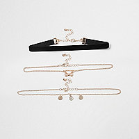 Girls black velvet bow chain choker set