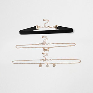Girls black velvet bow chain choker set