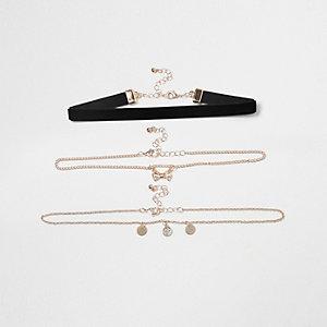 Parure ras-de-cou en velours noir avec nœud et chaîne pour fille