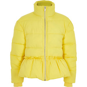 Girls yellow peplum hem puffer jacket