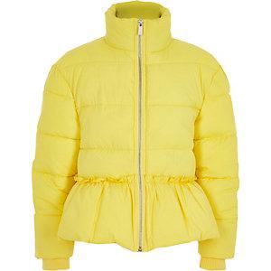 Girls yellow peplum hem puffer jacket