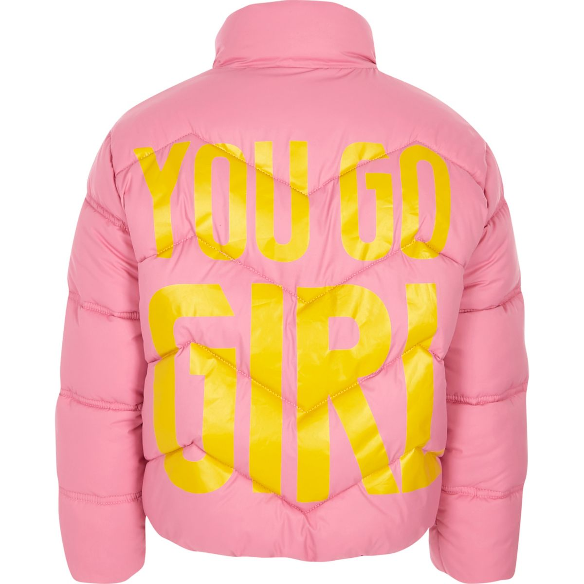Girls pink 'you go girl' print puffer jacket