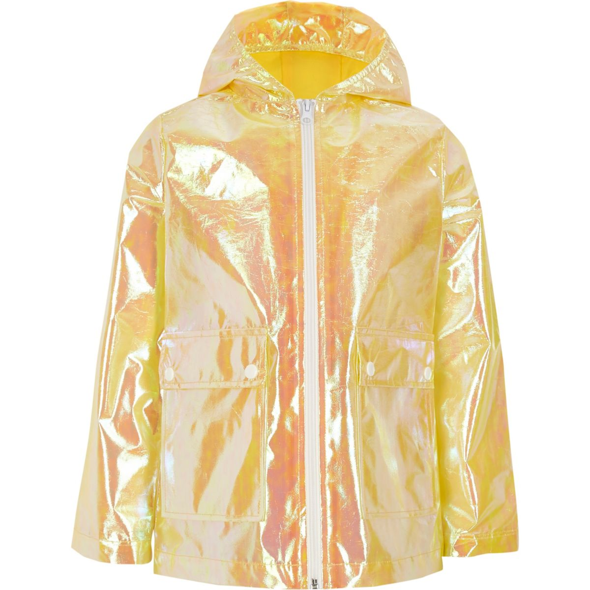 Girls yellow iridescent rain mac