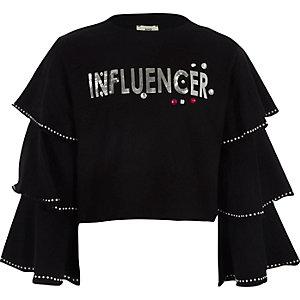 """Schwarzes, kurzes Sweatshirt """"Influencer"""""""