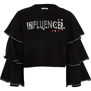 Girls black 'influencer' cropped sweatshirt
