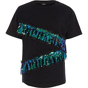 T-shirt noir à volant asymétrique orné de sequins pour fille