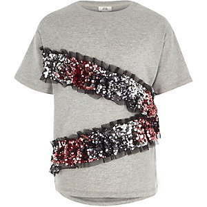 Girls grey asymmetric sequin frill T-shirt