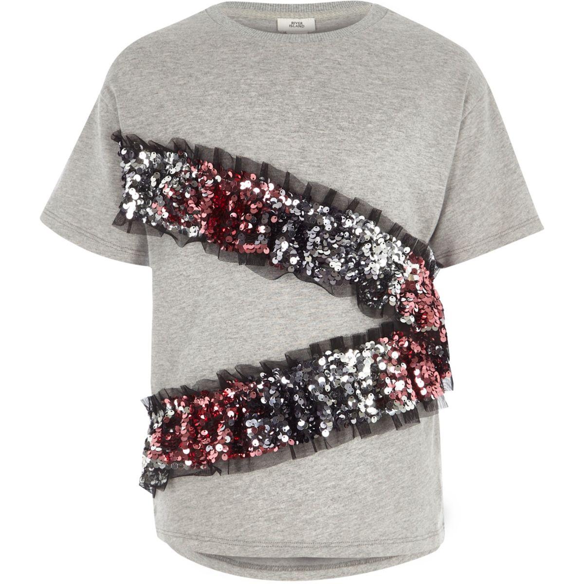 Girls grey asymmetric sequin frill T-shirt
