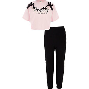 Girls pink pearl embellished T-shirt outfit